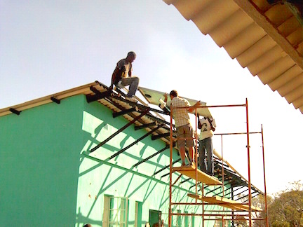 Foster and Collen installing solar Panels copy